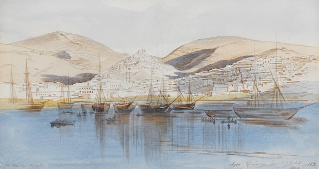 Edward Lear (British, 1812-1888) View of Ermoupoli, Syros 17 x 32 cm. (6¾ x 12½ in.)