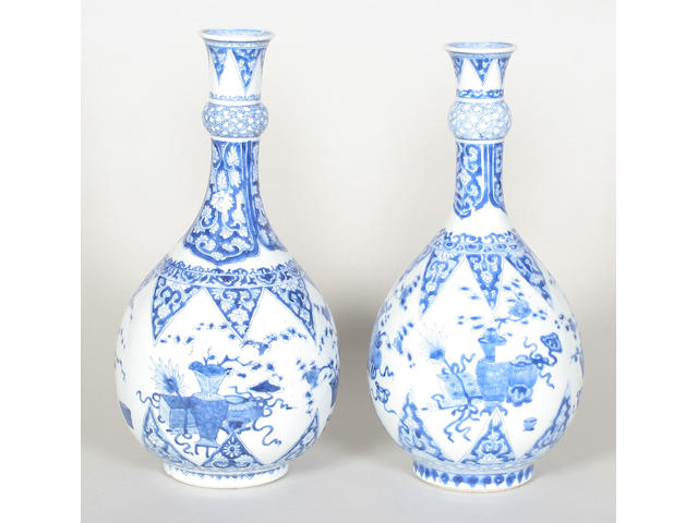 A pair of Chinese blue and white bottle vases