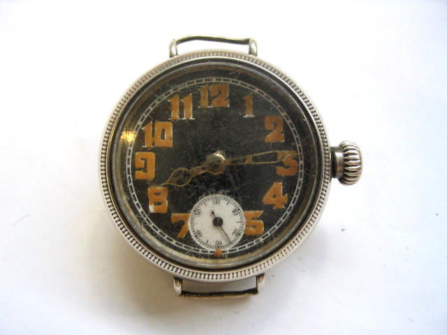 Rolex. A stainless steel wristwatch Birmingham hallmark for 1915