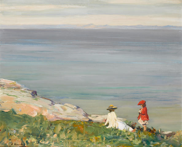 Sir John Lavery R.A., R.S.A., R.H.A. (1856-1941) On the Cliffs 64 x 77 cm. (25 1/4 x 30 1/4 in.)