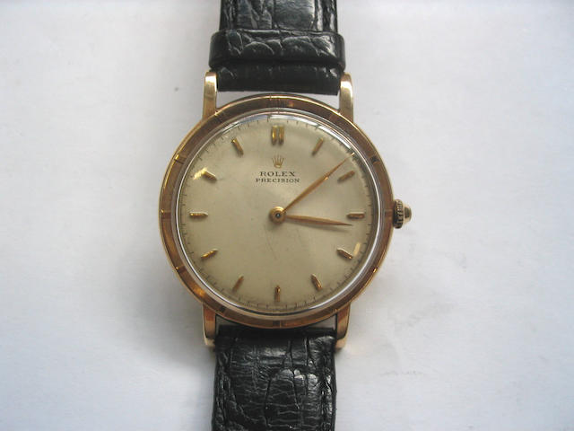 Rolex. A gents 9ct gold centre seconds wristwatch Ref.4448, 1950's