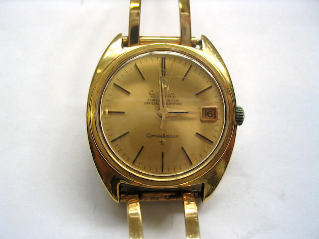 Omega. An 18ct gold calendar bracelet watch  Constellation, 1960's