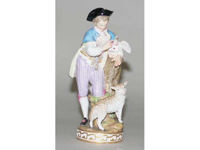 A Meissen figure of a shepherd