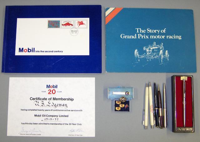 A collection of Mobiloil memorabilia,