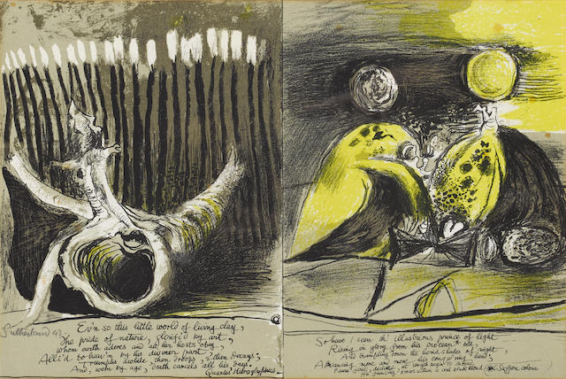 Graham Sutherland O.M. (British, 1903-1980) Illustrations to Francis Quarles 'Hyroglyphics' Lithographs, 1943, printed in colours, on one sheet of wove, signed and dated in pencil, aside from the numbered edition of 50; mount staining and foxing, unexamined out of the frame, 238 x 365mm (9 1/23 x 14 1/4in)(I)