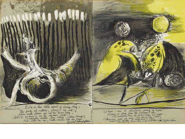 Graham Sutherland Illustrations to Francis Quarles 'Hyroglyphics' Lithographs, 1943, printed in colo