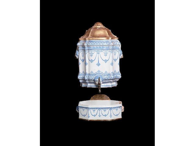 A French faience Wall Cistern and Basin