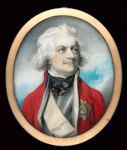 Richard Cosway R.A., General Sir Robert Sloper KB (1729-1802), wearing scarlet coatee with blue collar and white facings over armoured breast plate, fancy black cravat, red sash and breast star of the Order of the Bath