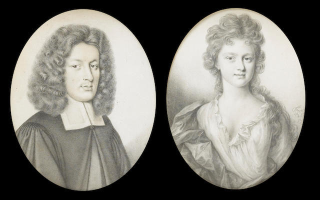 Thomas Forster, A pair of portraits of Thomas Green (1658-1738), Bishop of Ely and his wife Catherine (née Trimnel) (c.1682-1770): he, wearing robes held at the top with a small knotted button, white bands and curled wig; she, wearing loose white robes with frilled trim and dark cloak over her right shoulder and wrapped about her waist, her curling hair falling over her left shoulder