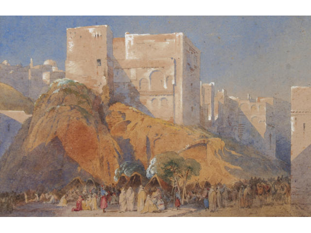 Follower of John Frederick Lewis An Arab encampment before a Middle Eastern fortified hill town