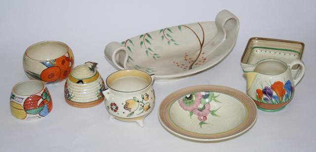 A group of Clarice Cliff pottery