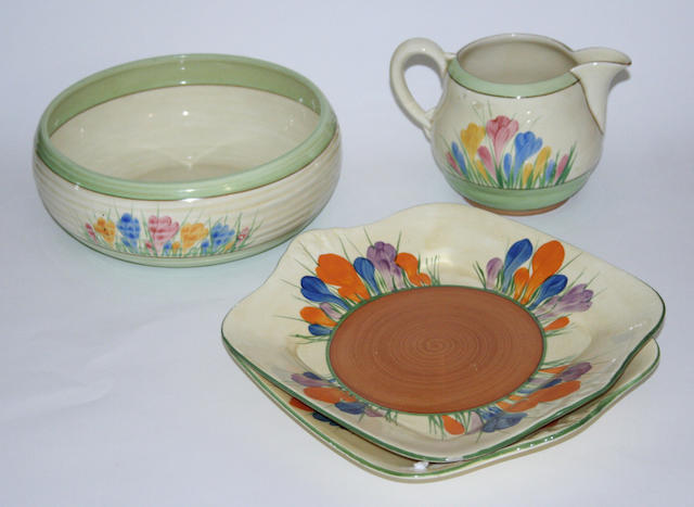 A group of Clarice Cliff 'Crocus' wares
