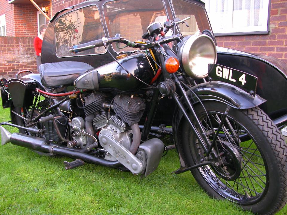 Single family ownership for 59 years,1938 Brough Superior 982cc SS80 & Blacknell Sidecar  Frame no. M8/2006 Engine no. BSX 4706