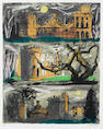 John Piper Clytha Castle, Tryptych Screenprint, 1981, printed in colours, on Arches, signed and numb