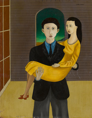 Conroy Maddox (1912-2005) The Engaged Couple 45 x 36 cm. (17 3/4 x 14 1/4 in.)