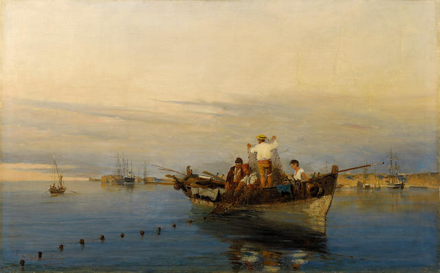 Constantinos Volanakis (1837-1907) Casting the nets 44 x 71 cm. (17 3/8 x 28 in.)
