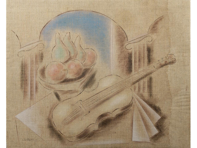 Constantinos Parthenis (1878/79-1967) Still life with fruits and violin 45 x 55 cm. (17 3/4 x 21 5/8 in.)