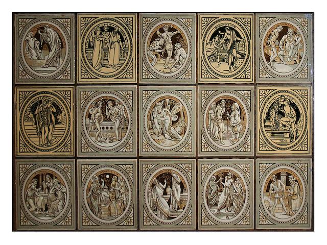 Fifteen Minton Shakespeare tiles by Moyr Smith