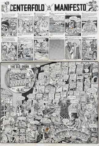 Robert Crumb (American, b.1943) Centerfold Manifesto. The Old Order. The New Order, 1973 each sheet 13 x 20in (33 x 51cm) (two sheets framed as one)