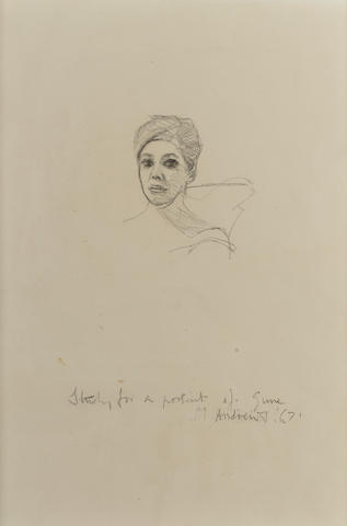 Michael Andrews (1928-1995) Study for a Portrait of June 27 x 18 cm. (10 1/2 x 7 in.)