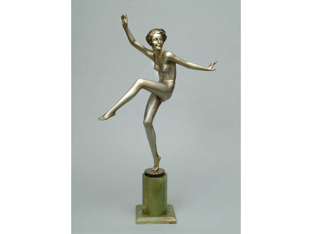 A large Lorenzl silvered bronze figure