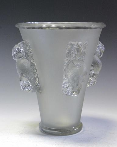 Lalique A clear and frosted glass vase,