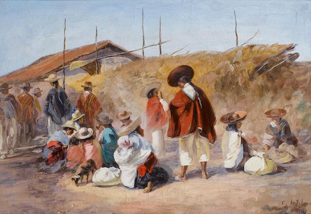 Cesar A Villacres (Ecuadorian, 1880-?) A market at Quito, Ecuador