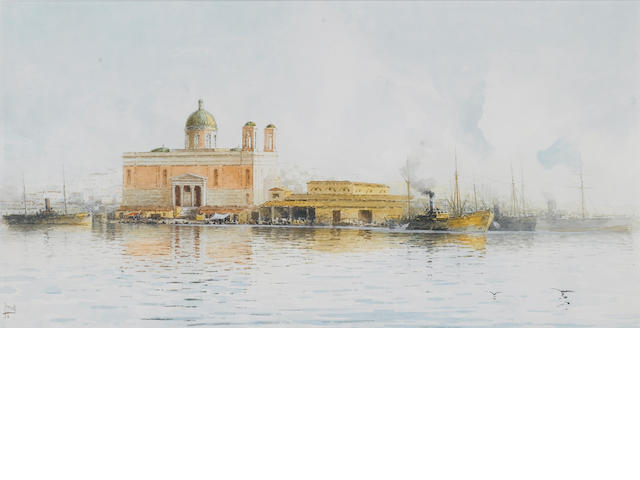 Spyridon Scarvelli (Greek 1868-1942) Customs House, Port Said, Egypt 28 x 34.5 cm. (11 x 21½ in.)