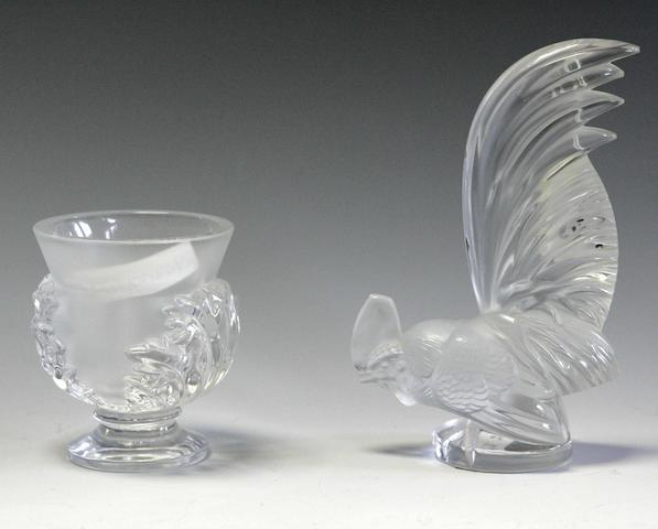 Lalique A 'Coq Nain' clear and frosted glass car mascot