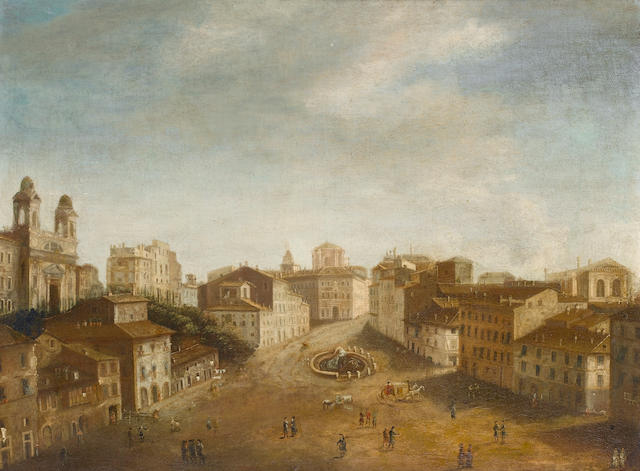 Italian School, early 18th Century A view of the Piazza di Spagna, Rome, from the North, 49.3 x 65 cm. (19 3/8 x 25 5/8 in.)