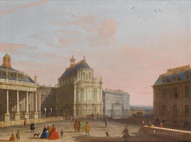 Attributed to Francesco Battaglioli (Modena (?) 1722-1796 Circa Venezia (?)) The exterior of the Royal Chapel at Versailles 38 x 48.5 cm. (15 x 19 in.)