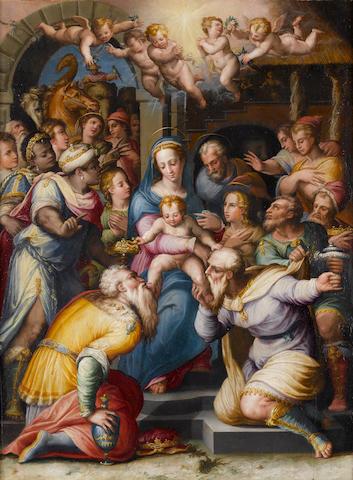 Studio of Giorgio Vasari (Arezzo 1511-1574 Florence) The Adoration of the Magi - a bozzetto 66.5 x 49.5 cm. (26 1/8 x 19½ in.)