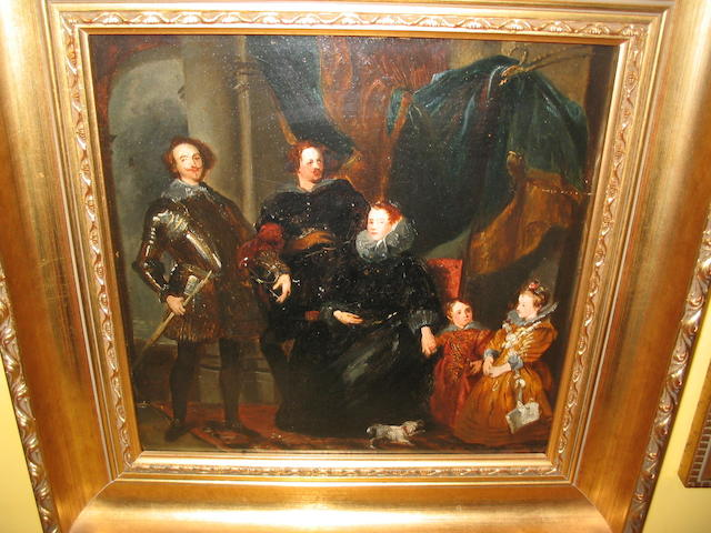 19th Century English School A grand manner group portrait in the 17th century style