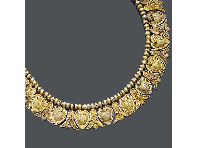 A mid 19th century gold necklace