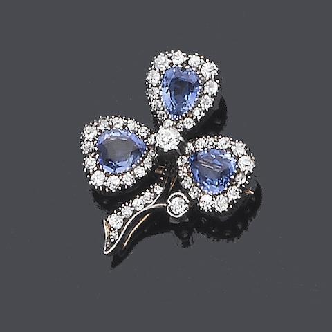 A late 19th century sapphire and diamond brooch/pendant,