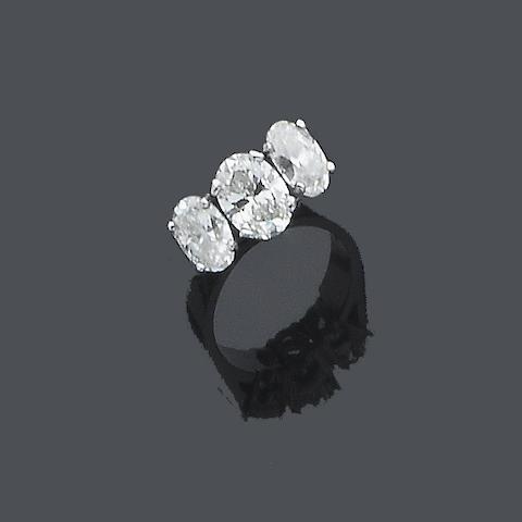 A diamond three-stone ring