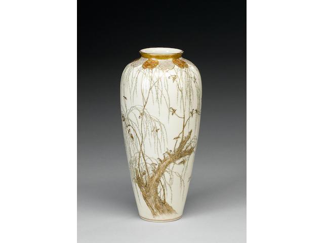 A Kyoto-Satsuma vase of tapering form;