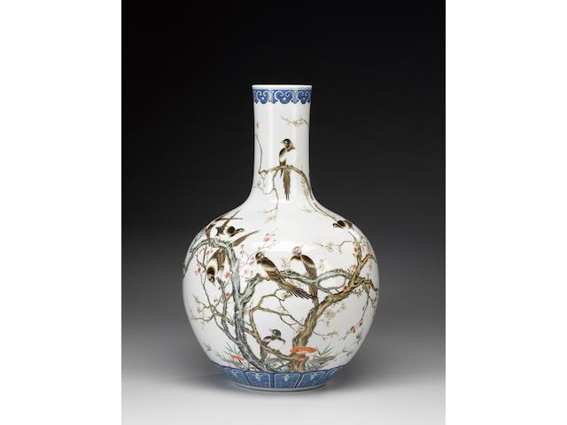 A large globular famille rose vase;