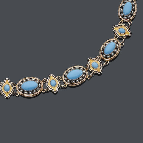 An early 19th century gold, seed pearl and turquoise necklace,