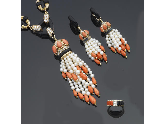 A cultured pearl, coral, onyx and diamond necklace, earrings, ring and watch suite, circa 1975 (4)