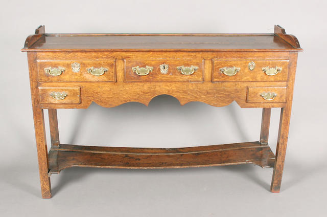 A small late 18th century oak rectangular dresser base