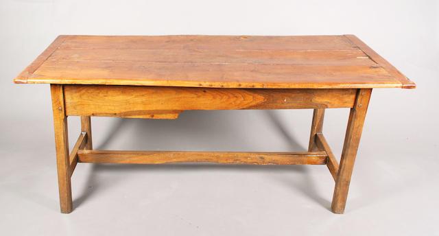 A 19th century mixed wood farmhouse rectangular table
