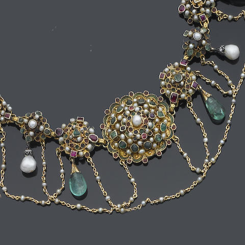 A late 19th century Austro Hungarian gem-set fringe necklace and pendent earring suite,