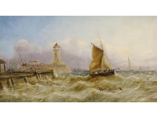 English School (late 19th Century) Off the harbour mouth, Whitstable, Kent 25.5 x 46cm (10 x 18in), and a companion, a pair.(2)