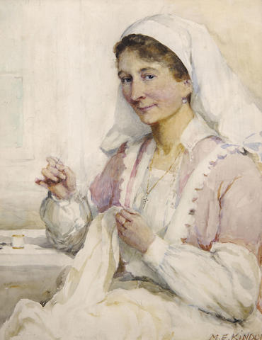 Mary Evelina Kindon (exh.1881-1919) The seamstress at work 51 x 41cm (20 x 16in).
