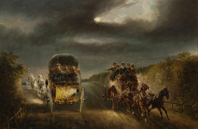 H.F.Jones (late 19th Century) Coaching scene by moonlight 28 x 44cm (11 x 17¼), and a companion a pair.(2)