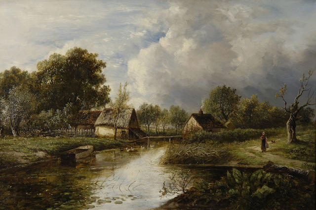 Joseph Thors (fl.1863-1900) River scene with cottages and figures 40.5 x 61cm (16 x 24in).