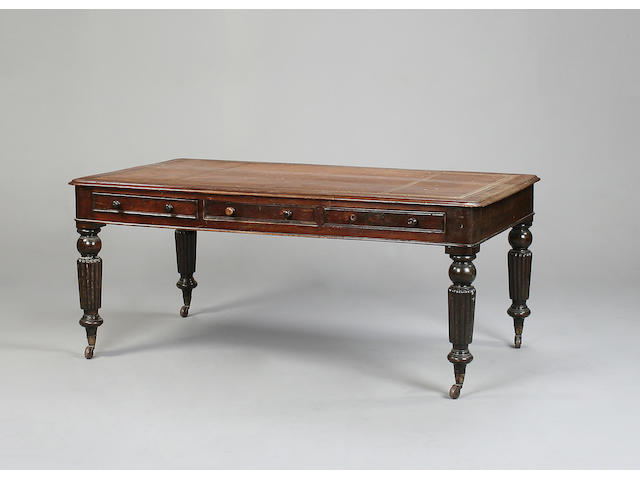 A William IV mahogany partner's library table