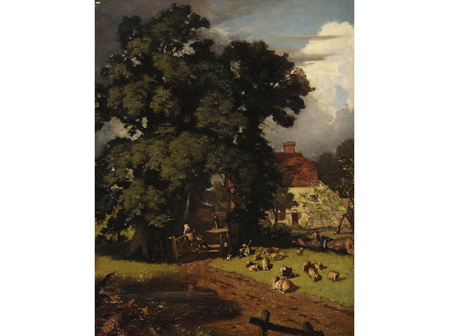 A. Huth (German 19th Century) Farmyard scene, signed, oil on canvas, 71 x 95cm.