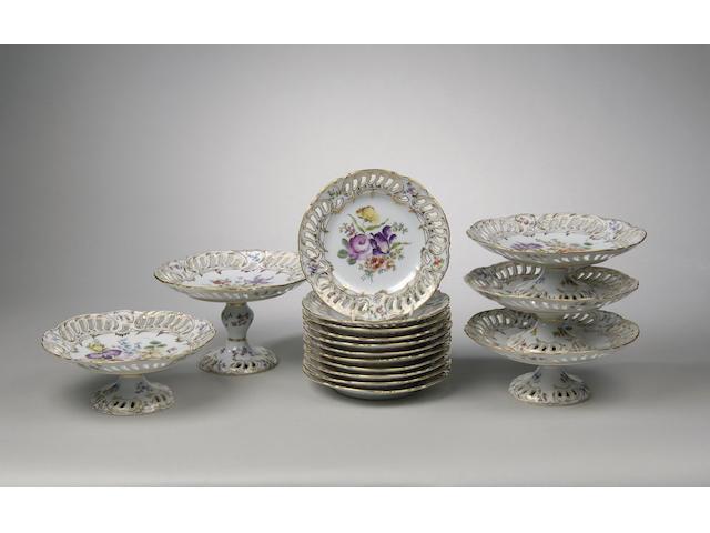 A Dresden porcelain dessert service c.1900,